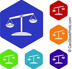 Retro scales icons set hexagon