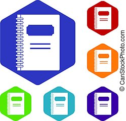 Closed spiral notebook icons set hexagon