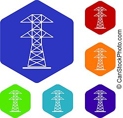High voltage tower icons set hexagon