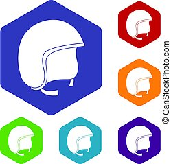 Safety helmet icons set hexagon isolated vector illustration