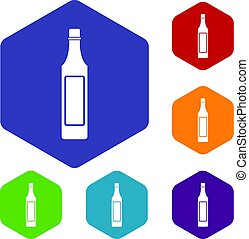 Vinegar bottle icons set hexagon isolated vector...