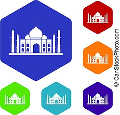 Taj mahal icons set hexagon isolated vector illustration