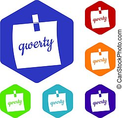 Paper sheet with text qwerty icons set hexagon isolated...