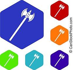 Poleaxe icons set hexagon isolated vector illustration