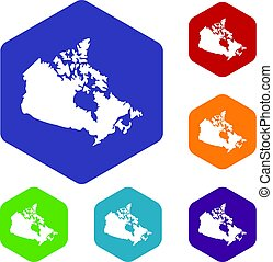 Canada map icons set hexagon