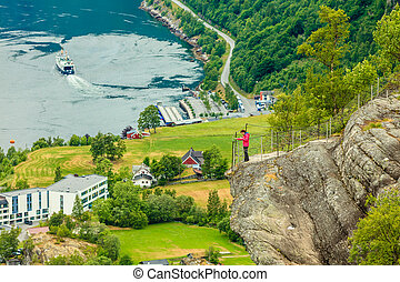Geirangerfjord and Geiranger village in Norway - Tourism...
