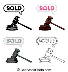 Auction hammer icon in cartoon style isolated on white background. E-commerce symbol stock vector illustration.