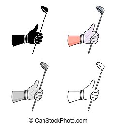 Holding of a golf club icon in cartoon style isolated on...