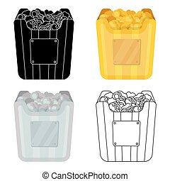 Cup in the form of Golden popcorn.The prize of spectator sympathies.Movie awards single icon in cartoon style vector symbol stock illustration.