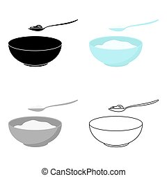 Cottage cheese icon cartoon. Single bio, eco, organic...