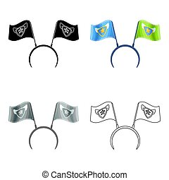 Headgear fan with flags.Fans single icon in cartoon style vector symbol stock illustration.