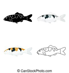 Carp-koi fish icon cartoon. Singe aquarium fish icon from...