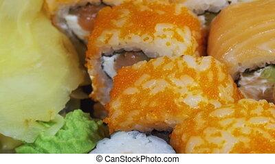 Japanese Sushi Rolls close-up is Moving - Japanese Sushi...