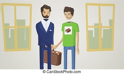 Business people shaking hands, finishing up a meeting animation. Welcoming business partners Handshake. Two successful businessman sitting at the table looking at each other shaking hands animation.