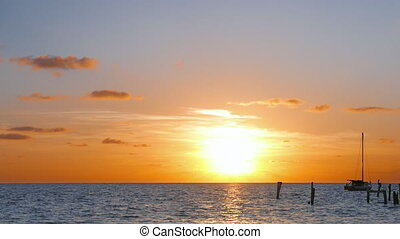 Sun Rising Over Caribbean Sea - Sun rising just over the...