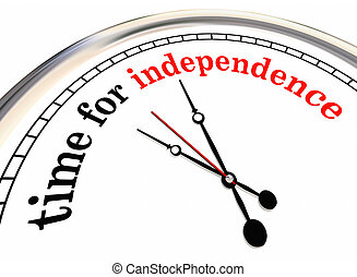 Time for Independence Clock Go Alone Self Employed 3d Illustration