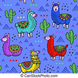 Seamless pattern with alpaca and cactuses - Lamas seamless...