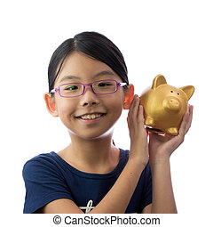 Child money savings concept - Little Asian girl holding...