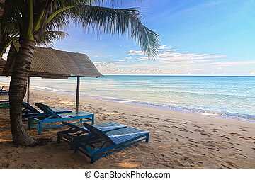 Sand beach with sun beds in Phu Quoc close to Duong Dong, Vietnam