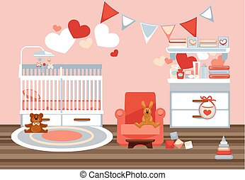 Room interior for newborn with decorations colorful flat...