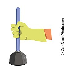 Hand in green lime rubber glove holds color plunger