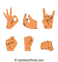 Hands gestures in six icons on white background. Fingers...