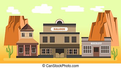 Western saloon and sheriff in desert colorful vector...