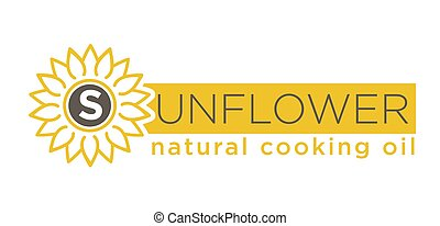 Sunflower natural cooking oil emblem of natural organic oil...