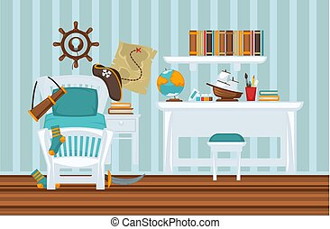 Boy's room in pirate style colorful flat illustration....