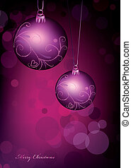 Christmas ball on pink background. Vector