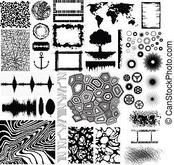 Collection of different vector shapes and patterns for...