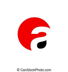 initial letter a circle logo red black