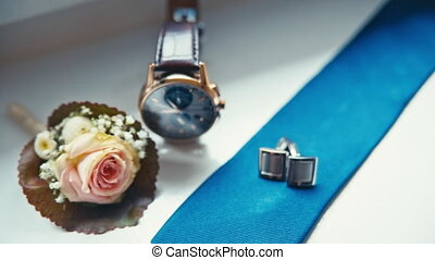 wedding accessories, boutonniere, cufflinks and watches -...