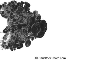 Abstract background black Ink or smoke with alpha mask for motion effects and compositing VFX. Beautiful Ink clouds or smoke move in slow motion with luma matte. Version 13