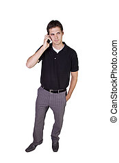 Young businessman conversing on cell phone - Isolated Young...