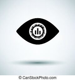 Eye with market chart inside pupil icon on gray background,...