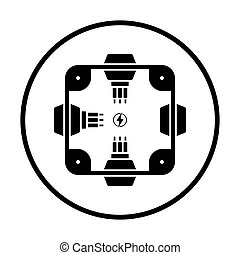 Electrical junction box icon. Thin circle design. Vector...