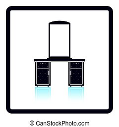 Dresser with mirror icon. Shadow reflection design. Vector...
