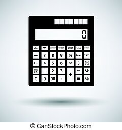 Statistical calculator icon on gray background, round...