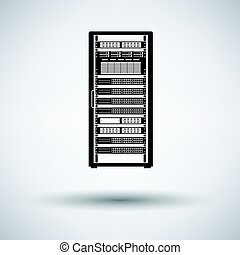 Server rack icon on gray background, round shadow. Vector...