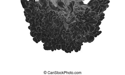 Abstract background black Ink or smoke with alpha mask for motion effects and compositing VFX. Beautiful Ink clouds or smoke move in slow motion with luma matte. Version 22