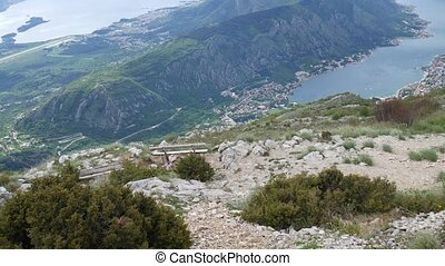 Benches on Mount Lovcen, overlooking the Bay of Kotor in...