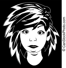 Lad with long hair - Black white drawing lad with...
