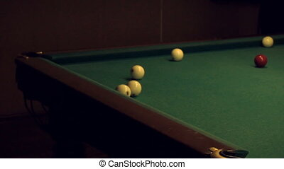 men are playing Russian Billiards - men are resting and...