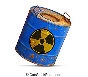 radioactive hazard concept. Dirty barrel isolated on white...