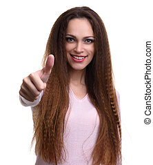 woman shows her thumbs up. Isolated