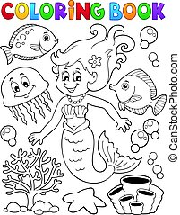 Coloring book mermaid topic 2 - Coloring book mermaid topic...