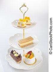tray or three tier serving tray with dessert. - tray or...