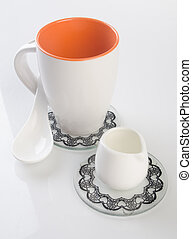 tea cup or coffee cup on a background.
