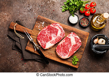 Raw meat Ribeye Steak - Two Raw fresh meat Ribeye Steakes,...